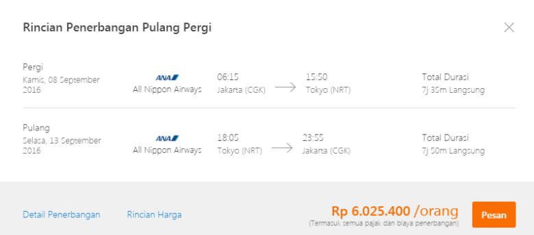 Tiket Pesawat ANA September