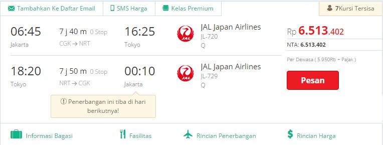 Tiket JAL 1 - 5 Agustus 2016